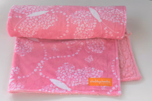 Pink Butterfly stroller blanket with pink minky back