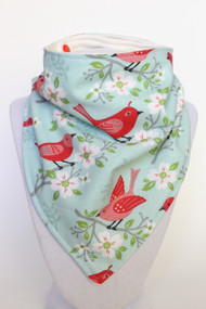 Spring Birdies bamboo backed bandana bib