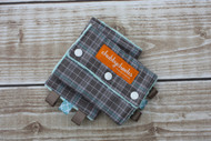 Grey plaid with light blue minky.