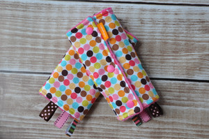 Polka dots with pink minky.