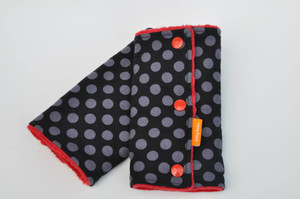 Black and grey dots with red minky.