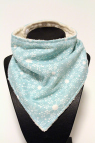 Winter Wonderland bandana bib with ivory minky back.