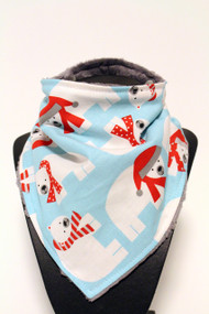 Polar Bear bandana bib with grey minky back.