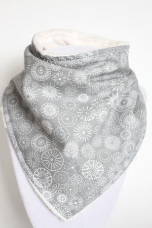 Silent Night Shimmer bandana bib with ivory minky back.