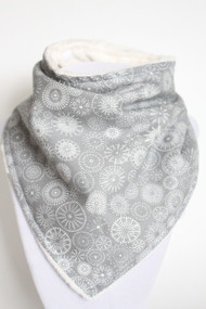 Silent Night Shimmer bandana bib with ivory minky back.