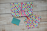 Wild Dots Gift Set, includes a diaper-to-go bag, bandana bib with minky backing and a door silencer