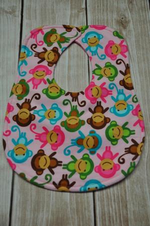 Pink monkey classic bib flannel both sides