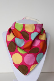 Bandana Bib - Big Dots on Pink (Ivory)