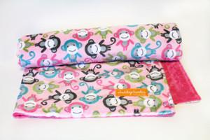 Pink Monkey stroller blanket