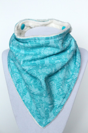 Teal Robot bandana bib with ivory minky back.