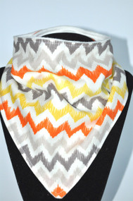 Orange Earthy Chevron bamboo backed bandana bib