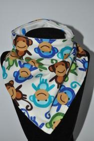 Blue Monkeys bandana bib with bamboo backing