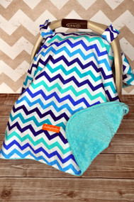 Marine chevron car seat canopy with topaz minky back