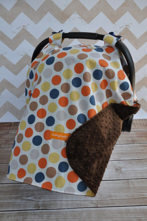 Brown, Orange, Blue and Yellow Dot car seat canopy