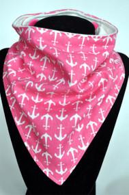 Pink Anchors with bamboo backed bandana bib