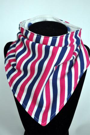 Navy and Hot Pink Stripe bandana bib with bamboo backing
