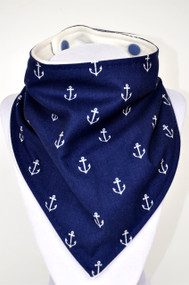 Navy Anchor bandana bib with bamboo back