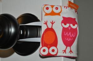 Pink and Orange Owl door silencer (pink on the back)