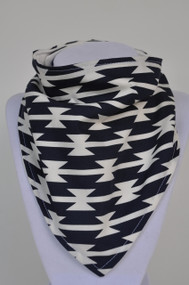 Tomahawk stripe bandana bib with bamboo back.