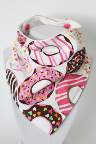 Donut bandana bib with bamboo back.