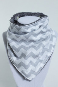 Grey and White Chevron bandana bib with grey minky back.