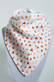 Orange Triangles bandana bib with bamboo back.