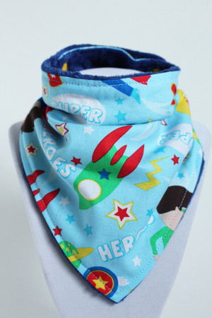 Blue Heroes bandana bib with navy blue minky back.