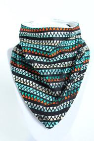 Aztec Stripe bandana bib with bamboo back.