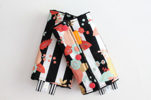 Floral B&W Stripe  baby carrier drool pads