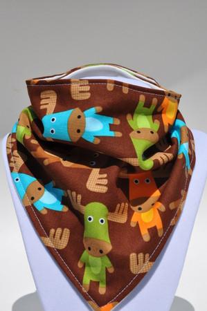 Brown moose bamboo backed bandana bib