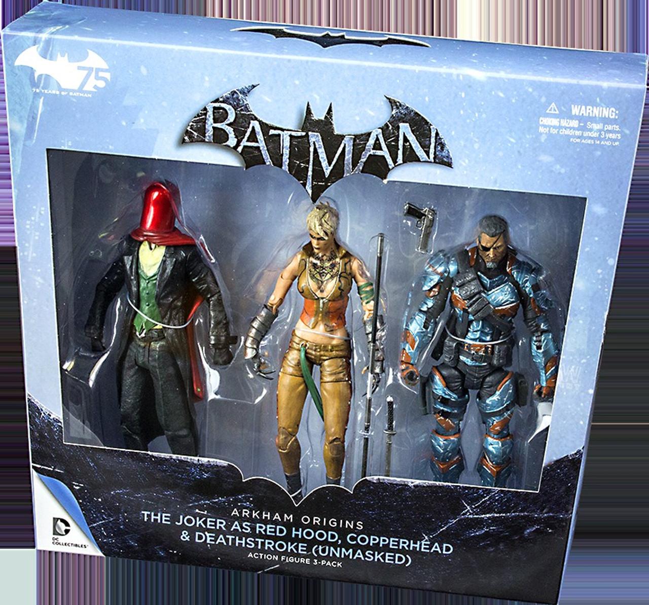 Batman Arkham Origins Red Hood Copperhead And Unmasked Deathstroke Figure 3 Pack Review
