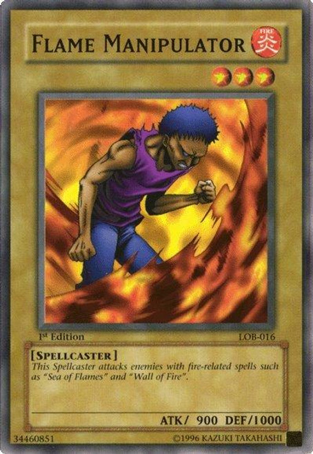 YuGiOh Legend of Blue Eyes White Dragon Common Flame Manipulator LOB-016