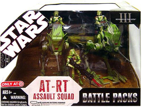 Star Wars The Clone Wars Battle Packs 2007 AT-RT Assault Squad Exclusive Action Figure Set [Kashyyyk Battle]