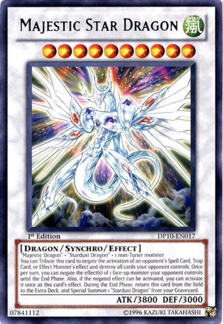 YuGiOh 5D's Duelist Pack Yusei Fudo 3 Rare Majestic Star Dragon DP10-EN017