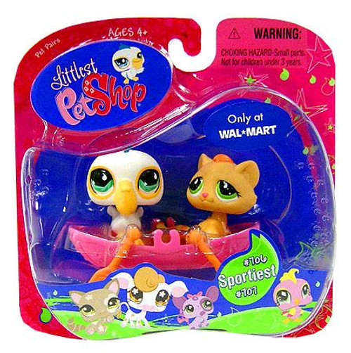 Littlest Pet Shop Pet Pairs Pelican & Brown Cat Exclusive Figure 2-Pack #706, 707 [Row Boat]