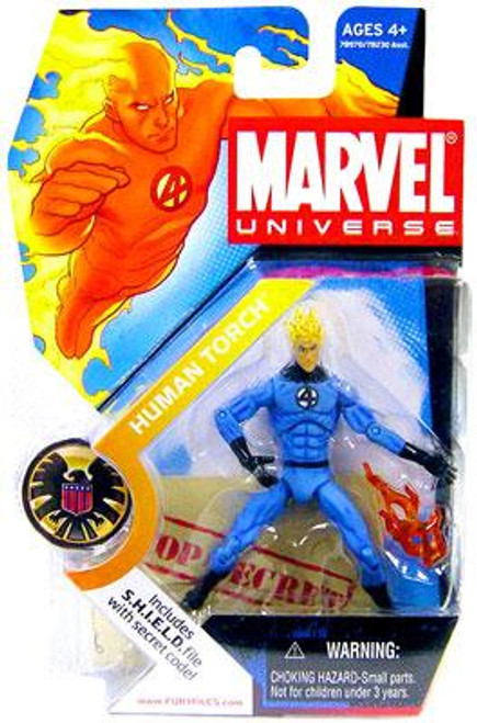 Marvel Universe Series 1 Human Torch Action Figure #7 [Light Blue Outfit]