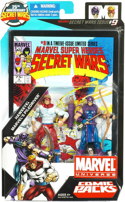 Marvel Universe 25th Anniversary Secret Wars Comic Packs Hawkeye & Marvel's Piledriver Action Figure 2-Pack #9