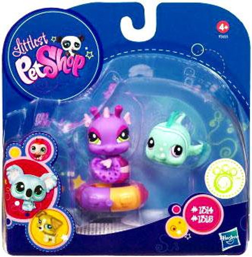 Littlest Pet Shop 2010 Assortment A Series 1 Seahorse & Clown Fish Figure 2-Pack #1314, 1315 [Purple & Blue with Inner Tube]