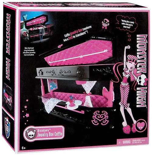 Monster High Frights, Camera, Action Draculaura's Jewelry Box Coffin 10.5-Inch
