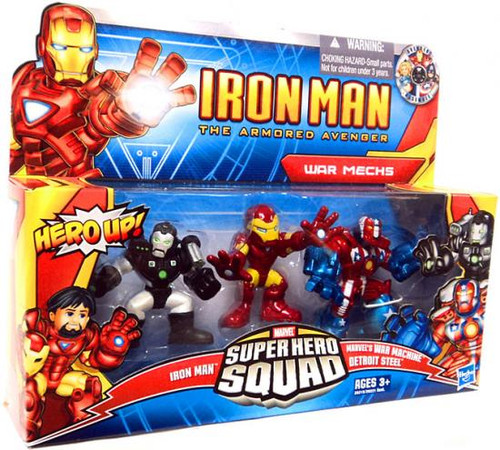 Iron Man The Armored Avenger Superhero Squad War Mechs Action Figure 3-Pack