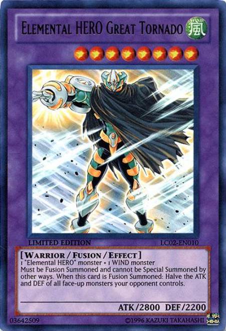 YuGiOh GX Legendary Collection 2 Ultra Rare Elemental HERO Great Tornado LC02-EN010