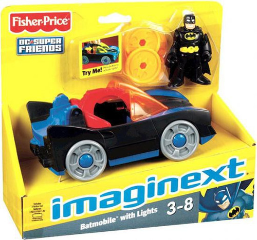 Fisher Price DC Super Friends Batman Imaginext Batmobile with Lights 3-Inch Figure Set