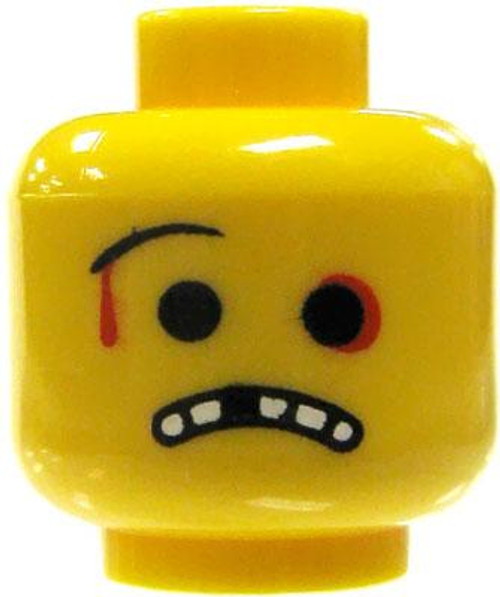 Citizen Brick Custom Printed Minifigure Parts Beat Up Loose Head [Bloody Cut, Missing Tooth Loose]