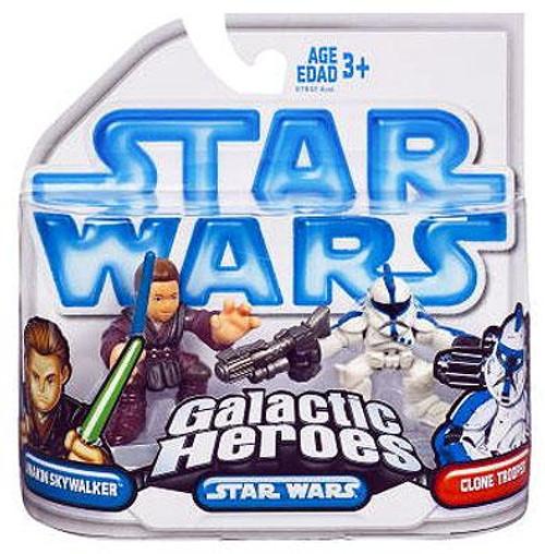 Star Wars Attack of the Clones Galactic Heroes 2008 Anakin Skywalker & Clone Trooper Mini Figure 2-Pack