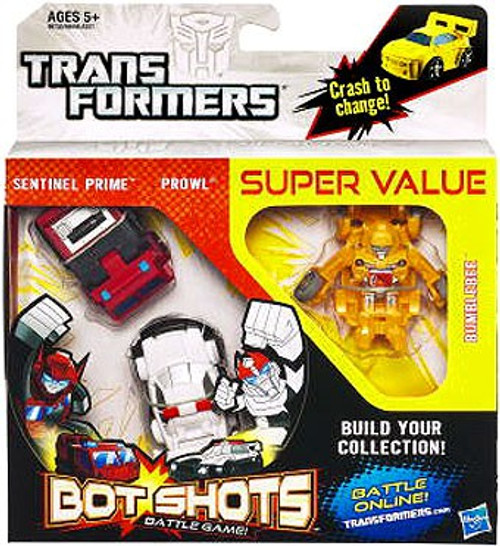 Transformers Bot Shots Battle Game Sentinel Prime, Prowl & Bumblebee Action Figure 3-Pack
