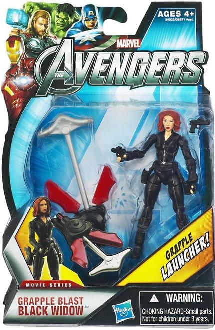 Marvel Avengers Movie Series Grapple Blast Black Widow Action Figure