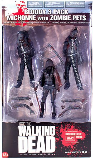 McFarlane Toys Walking Dead AMC TV Series 3 Bloody 3 Pack Michonne with Zombie Pets Action Figure Set