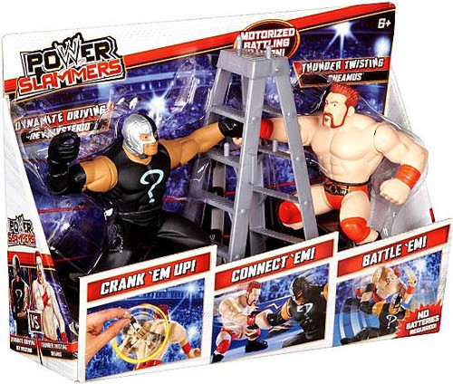 WWE Wrestling Power Slammers Dynamite Driving Rey Mysterio & Thunder Twisting Sheamus Action Figure 2-Pack