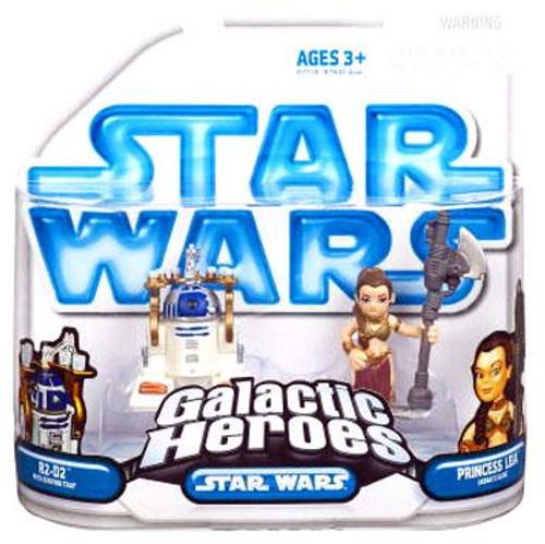 Star Wars Return of the Jedi Galactic Heroes 2008 R2-D2 [Serving Tray] & Princess Leia [Jabba's Slave] Mini Figure 2-Pack