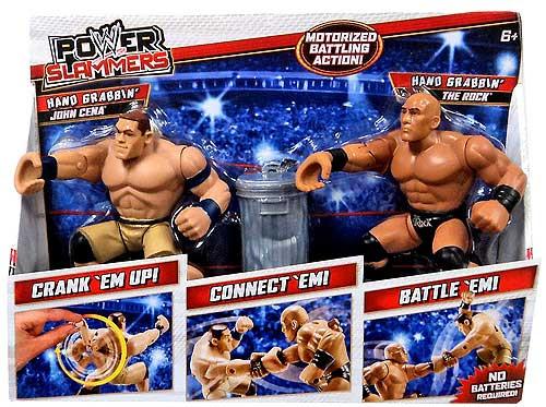 WWE Wrestling Power Slammers Hand Grabbin' John Cena & Hand Grabbin' The Rock Action Figure 2-Pack